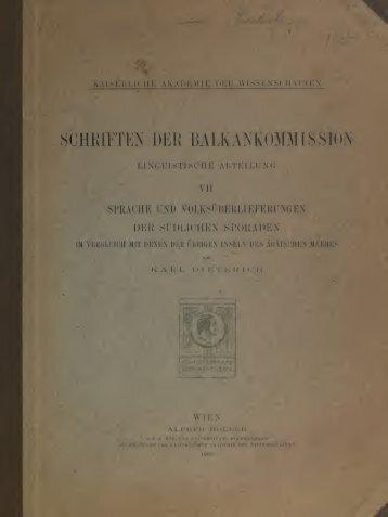 Sprache und Volksüberlieferungen der südlichen Sporaden im ...