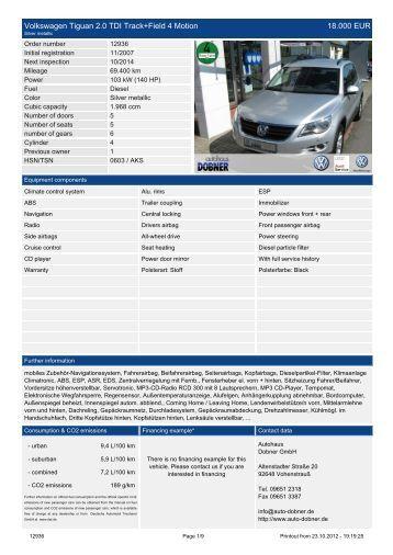 Volkswagen Tiguan 2.0 TDI Track+Field 4 ... - Autohaus Dobner