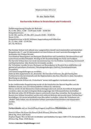 Dr. des. Stefan Rath Das barocke Schloss in Deutschland und ...