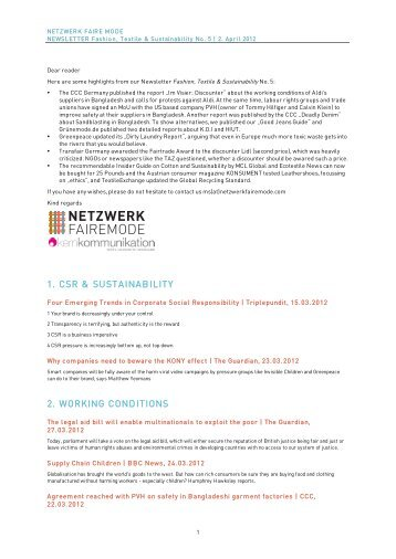 "Fashion, Textiles & Sustainability"" No. 5/2012 - Blog"