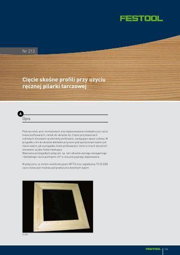 Cięcie skośne profili przy użyciu ręcznej pilarki tarczowej - Festool