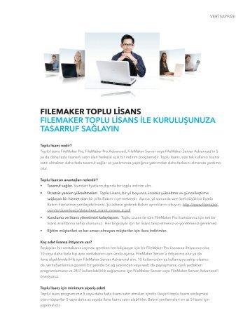 Toplu lisanlar hakkında daha fazla bilgi edinin - FileMaker