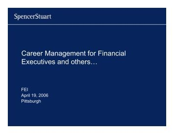 Career Management for Financial Executives and others…