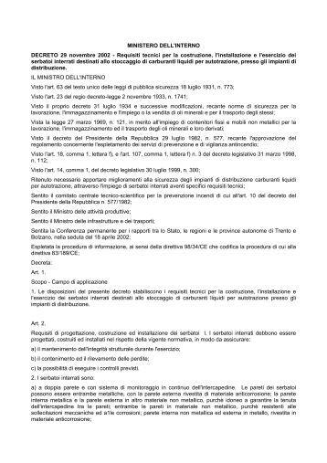 Decreto dirigenziale ministero dell 39 interno agenzia del for Ministero interno r