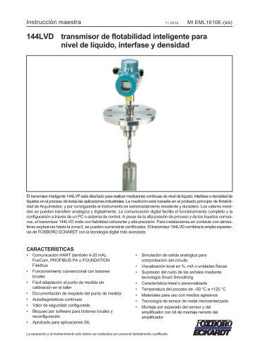 144LVD transmisor de flotabilidad inteligente para nivel de líquido ...
