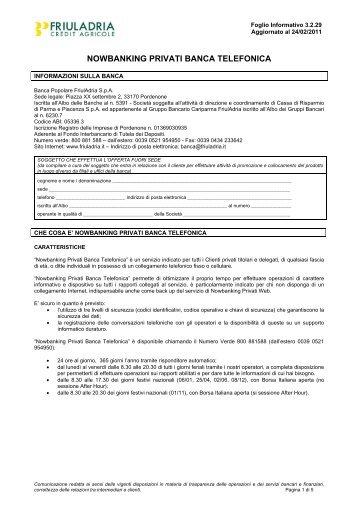 FI 3.2.29 Nowbanking Privati - Banca Telefonica - Friuladria
