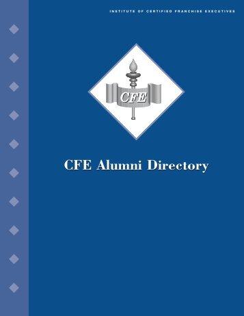 CFE Alumni Directory Book - International Franchise Association