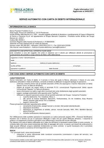 DA: SERVIZIO ADVISORY - Friuladria