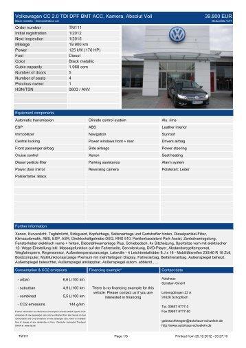Volkswagen CC 2.0 TDI DPF BMT ACC ... - Autohaus Schülein Gmbh