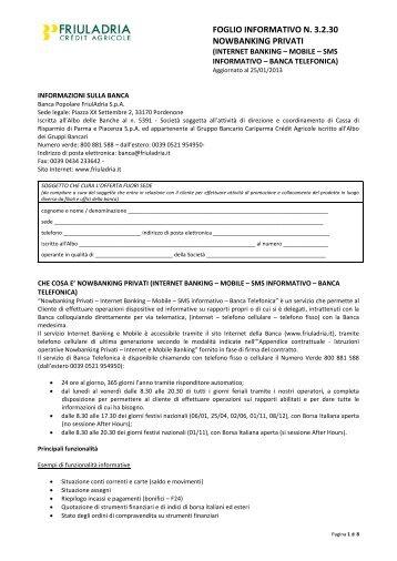 Coordinate bancarie: - Friuladria