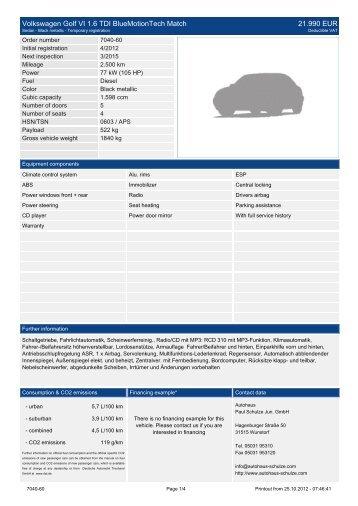 Volkswagen Golf VI 1.6 TDI Bluemotiontech ... - Autohaus Schulze