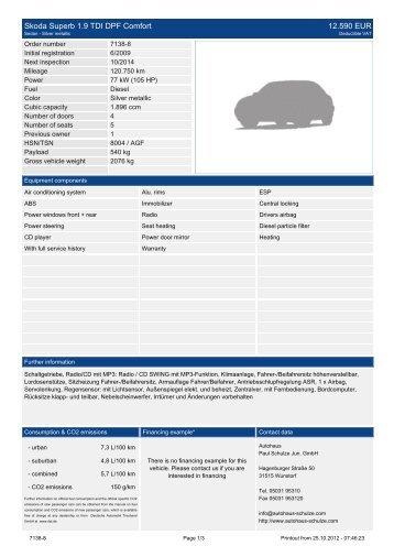 Skoda Superb Combi 2.0 TDI Elegance XENON ... - Autohaus Schulze
