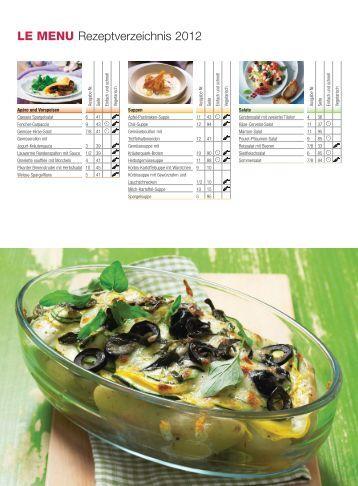 LE MENU Rezeptverzeichnis 2012