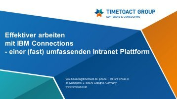 IBM Connections - TIMETOACT GROUP