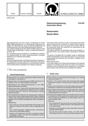 LEYBOLD DIDACTIC GMBH Gebrauchsanweisung 314 251 ...