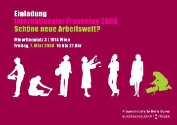 Einladung Internationaler Frauentag 2008 Schöne neue Arbeitswelt?