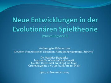 k - Frankfurt Institute for Advanced Studies - Goethe-Universität