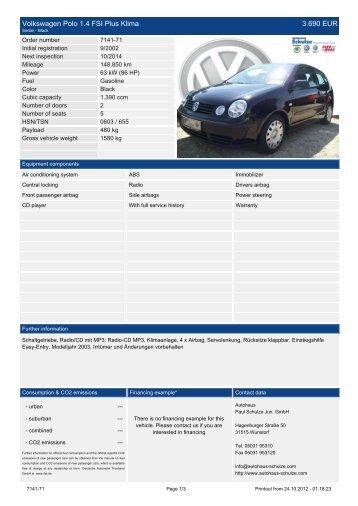 Volkswagen Polo 1.4 United 9.590 EUR - Autohaus Schulze
