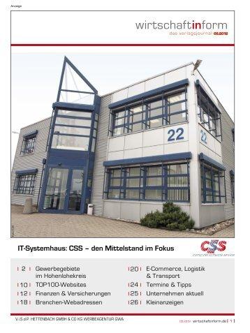 Gewerbegebiete im Hohenlohekreis I wirtschaftinform.de 05.2012