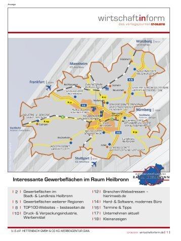 Gewerbeflächen Stadt- und Landkreis Heilbronn I wirtschaftinform.de 07-08.2012