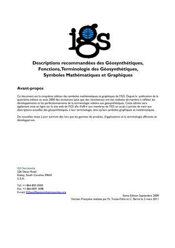Descriptions recommandées des Géosynthétiques, Fonctions ...