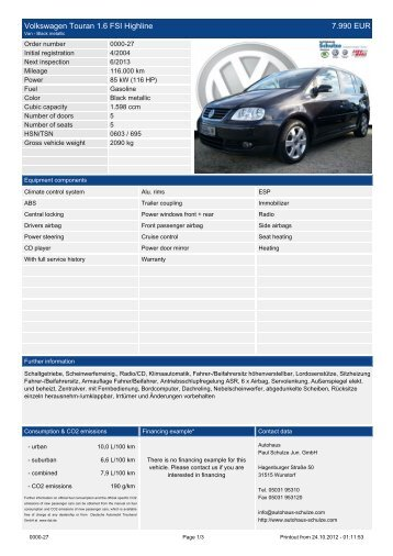 Volkswagen Touran 1.9 TDI Klimaautomatik ... - Autohaus Schulze