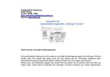 """Konzeption der Gemeindekindertagesstätte """"Gilchinger Strolche"""""""