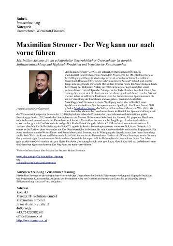 Maximilian Stromer - Der Weg kann nur nach vorne führen