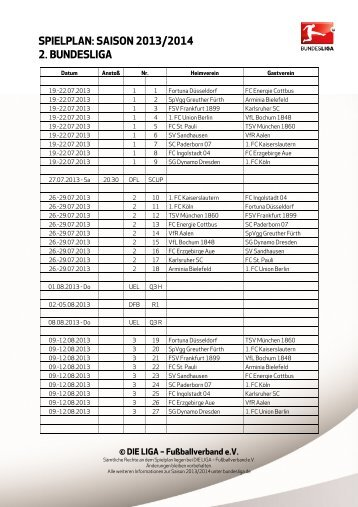 spielplan: saison 2013/2014 2. bundesliga