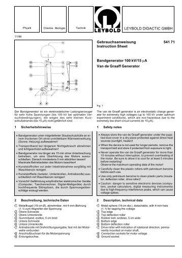 LEYBOLD DIDACTIC GMBH Gebrauchsanweisung 541 71 ...