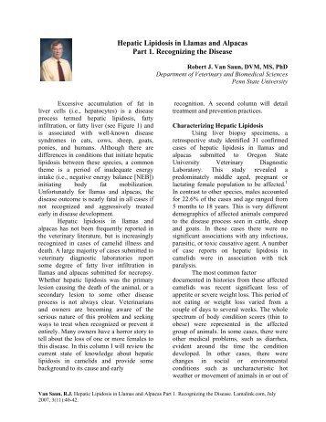HEPATIC LIPIDOSIS IN LLAMAS - Veterinary and Biomedical  ...