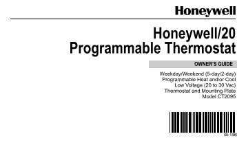 69-1385 - Honeywell/20 Programmable Thermostat - Download ...