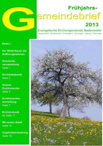Evangelische Kirchengemeinde Badenweiler - Evangelischer ...