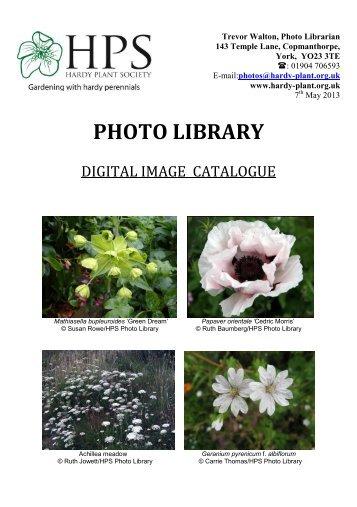DIGITAL IMAGE CATALOGUE - Hardy Plant Society
