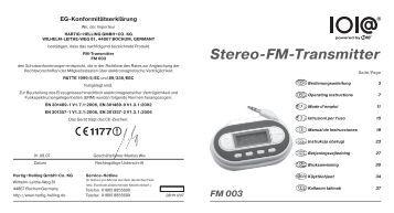 Stereo-FM-Transmitter - Hartig + Helling GmbH & Co. KG