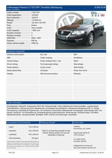 Volkswagen Passat 2.0 TDI DPF Trendline ... - Autohaus Schulze