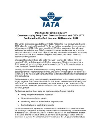 Opinion piece published in the Gulf News - IATA