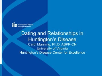huntington disease dating I have huntington's disease, but i can still live life to the full rebecca potter.