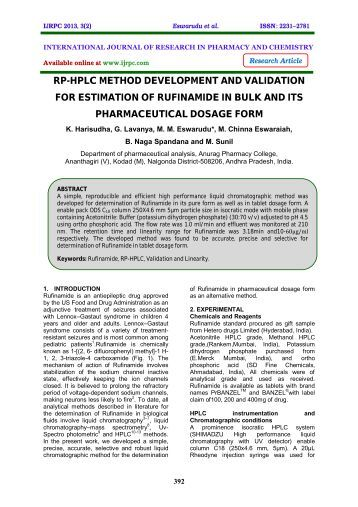 development and validation of a rp hplc Ramanjaneyulu s, development and validation of rp hplc method for estimation of divalproex sodium in tablets, int j of innovations in pharmaceutical.