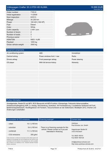 Volkswagen Crafter 35 2.5TDI HD KLIMA ... - Autohaus Schulze