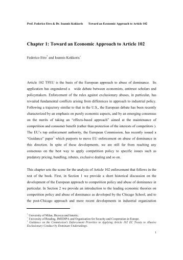 guidance paper on article 102 This second edition is a comprehensive, integrated treatment of the legal and economic principles that underpin the application of article 102 of the treaty on the.
