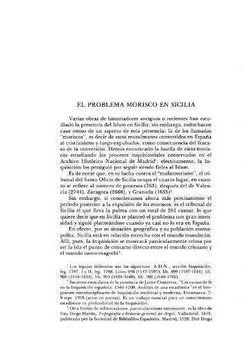 EL PROBLEMA MORISCO EN SICILIA - Aleph Ciencias Sociales