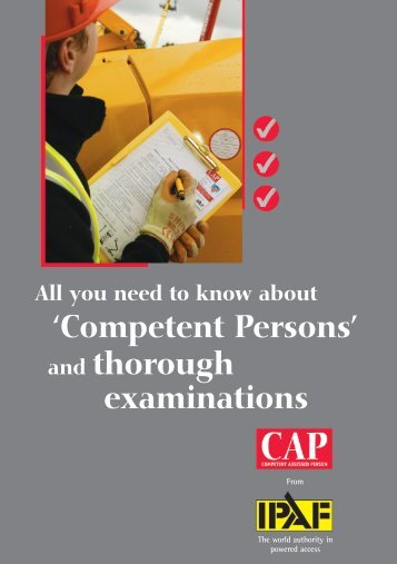 'Competent Persons' and thorough examinations - IPAF