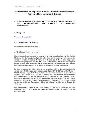Proyecto Hidroeléctrico El Guineo - sinat - Semarnat