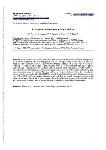 Cryopreservation of fish sperm
