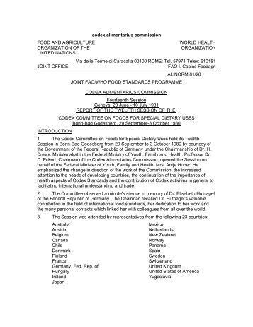 codex alimentarius commission procedural manual