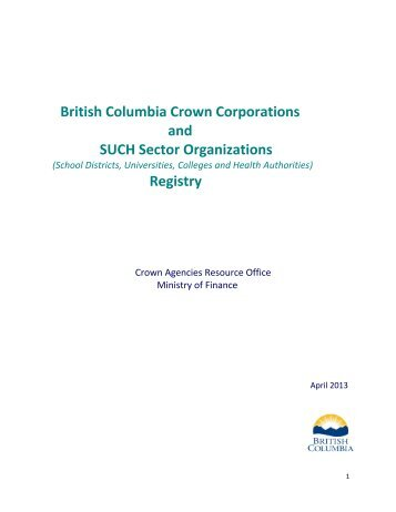 Crown Corporations & SUCH Sector Registry - Government of ...