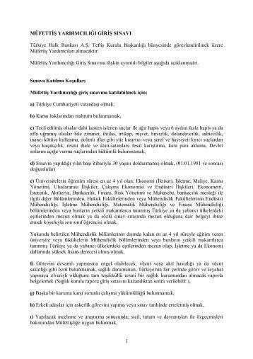 Sınav giriş bilgileri için tıklayınız. - Türkiye Halk Bankası