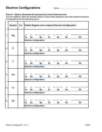 Electron configuration worksheet answers