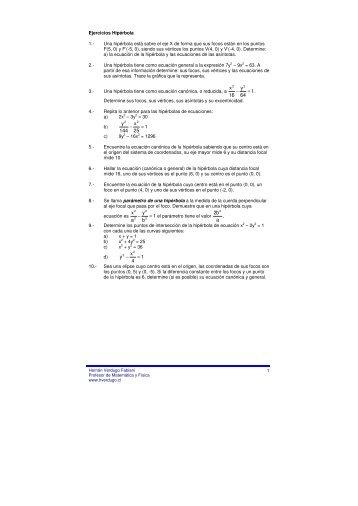 La hipérbola - Ejercicios de física y matemática